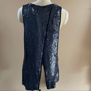 Parker Navy Blue Sequined Open Back Top Size XS